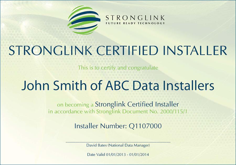 Stronglink Fibre & Data - Certified Installers