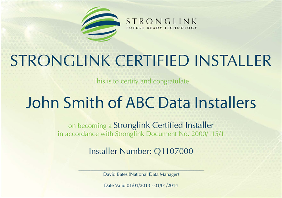 Stronglink Fibre Data Certified Installers